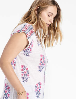 Lucky Brand WOOD BLOCK FLORAL TOP