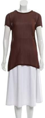 Calvin Klein Collection Semi-Sheer Short Sleeve Top Brown Semi-Sheer Short Sleeve Top