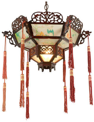 Rejuvenation Remarkable Wood and Glass Chinese Pendant W/ Tassels