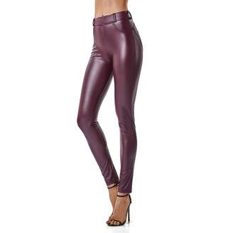 4a5399656e4 FITTOO Women Shiny Sexy Faux Leather Leggings Curvy Fit Pu High Waisted  Pants S