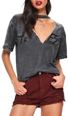 Women's Missguided Distressed Choker Neck Graphic Tee $37 thestylecure.com