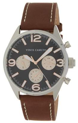 Vince Camuto Men's 3 Eye Leather Strap Watch, 42mm
