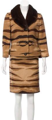 Valentino Mink-Trimmed Skirt Suit