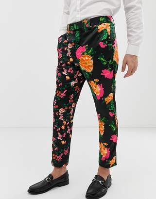 Asos Design DESIGN skinny suit pants in cut and sew black floral