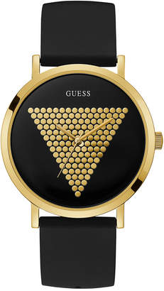 GUESS Men's Black Silicone Strap Watch 44mm