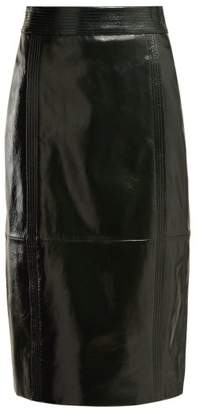 Givenchy Buttoned Back High Rise Leather Pencil Skirt - Womens - Dark Green