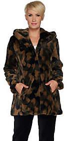 Isaac Mizrahi Live! SOHO Camo Faux Fur HoodedCoat