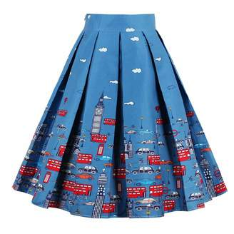 Filfeel Women' Print A-haped High Wait Flarekirt Blue Graffiti Pleatedkirt