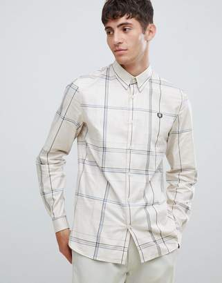 Fred Perry enlarged check shirt in off white
