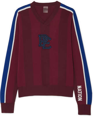 P.E Nation Battlefield Appliquéd Striped Knitted Sweater - Burgundy