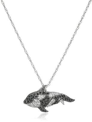 Orca Sterling Silver Black and White Diamond Killer Whale Pendant Necklace (1/3 cttw)