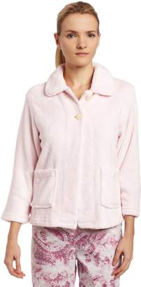 Casual Moments Womens Bed Jacket with Peter Pan Collar