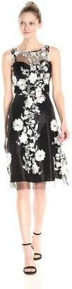 Sandra Darren Women's Sleeveless Embellished Mesh Fit and Flare Dress, Black/Ivory