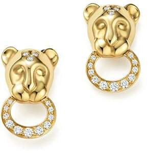 Temple St. Clair 18K Yellow Gold Lion Cub Pavé Diamond Earrings