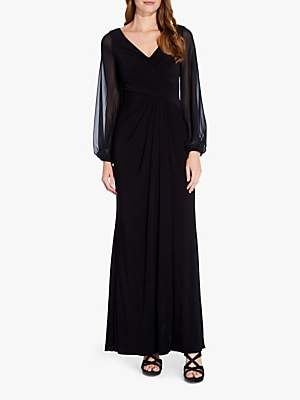 Adrianna Papell Long Sleeve Draped Gown, Black