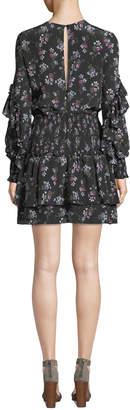 Neiman Marcus La Maison Talulah Chaleur V-Neck Long-Sleeve Floral-Print Silk Mini Dress