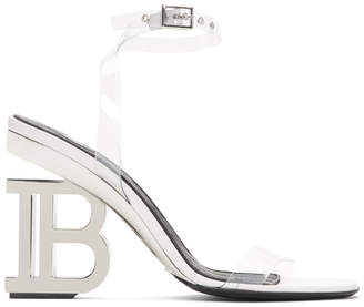 Balmain White and Silver PVC Naomi Sandals
