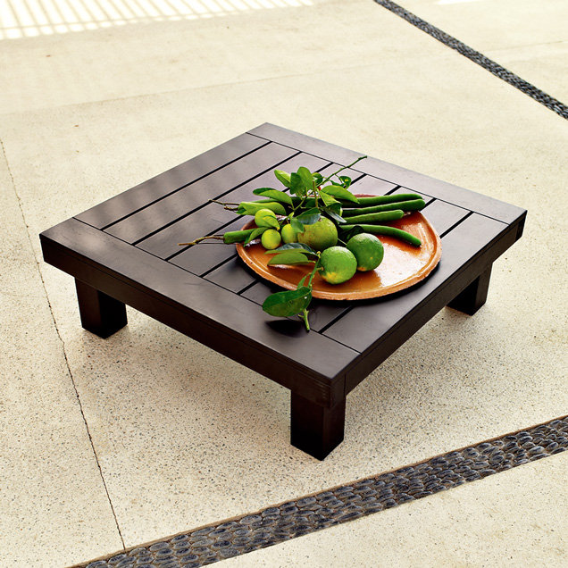 Wood-Slat Ottoman/Coffee Table