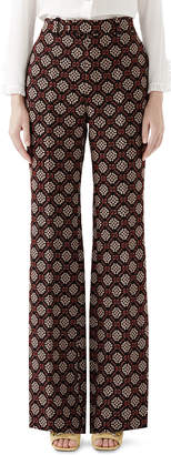 Gucci High-Waist Flared-Leg GG Net Wool-Blend Pants