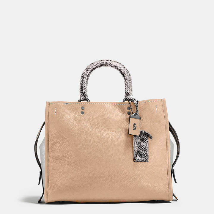 Coach   COACH Coach Rogue In Pebble Leather With Colorblock Snake Detail