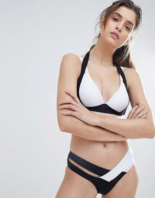 Amy Lynn Monochrome Bikini Set With Crossover Bikini Bottoms