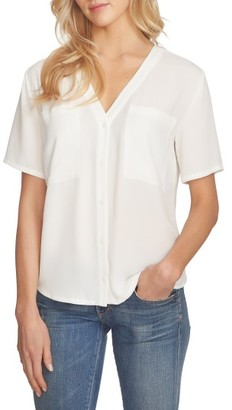 Women's 1.state V-Neck Button Front Blouse $69 thestylecure.com