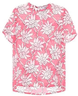 Valentino Floral-printed silk top