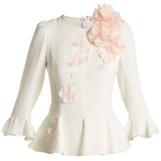 Andrew Gn Floral Applique Crepe Peplum Top - Womens - White