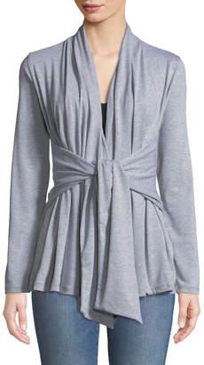 Neiman Marcus Tie-Front Jersey Cardigan