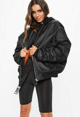 Missguided Fanny Lyckman X Black Jersey Hooded Ruched Sleeve Bomber Jacket