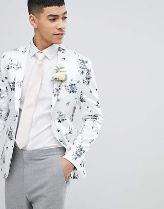 Asos Design DESIGN Wedding Super Skinny Blazer In White Floral Print