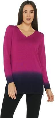Belle By Kim Gravel Belle by Kim Gravel V-Neck Dip Dye Long Sleeve Sweater