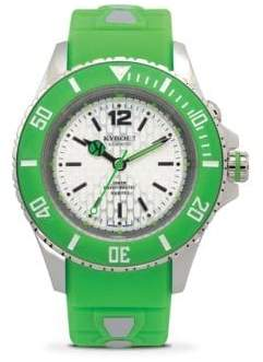Neon Green Silicone & Stainless Steel Strap Watch/40MM
