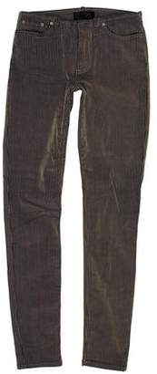 Acne Studios Velvet-Accented Mid-Rise Skinny Jeans