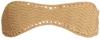 She Made Me Laharia Crochet Bandeau Bikini Top - Womens - Beige