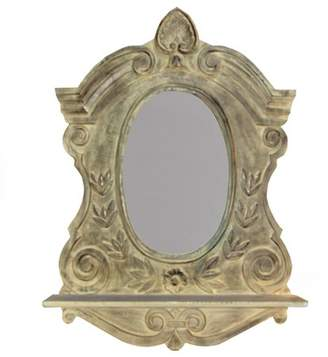 """CC Home Furnishings 36"""" VedaHome Hand Carved Distressed Ivory Framed Oval Wall Mirror with Shelf"""