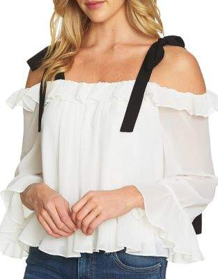 CeCe Shoulder-Tie Ruffled Long-Sleeve Blouse