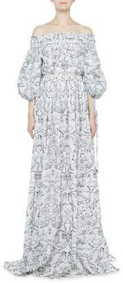 Alexander McQueen Medieval Animal-Embroidered Off-the-Shoulder Gown