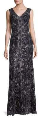 Tadashi Shoji Cord Tulle Floor-Length Gown