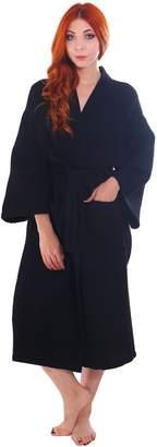Simplicity Men/Women's 100% Cotton Waffle Weave White Spa Robe