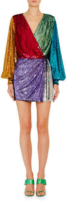 ATTICO The Long-Sleeve Sweetheart-Neck Sequin Mini Cocktail Dress
