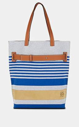 Loewe Men's Leather-Trimmed Cotton Tote Bag - Blue