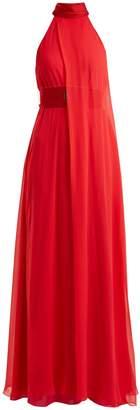 GALVAN Flamingo halterneck silk-crepe gown