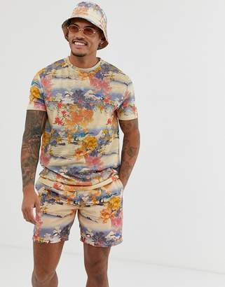 Asos Design DESIGN co-ord relaxed t-shirt with all over souvenir print in linen look