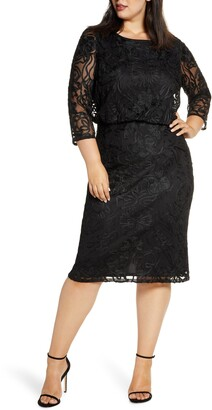 Plus Size Black Blouson Dress - ShopStyle