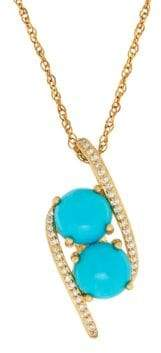 Lord & Taylor Turquoise, Diamond & 14K Yellow Gold Pendant Necklace