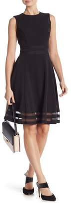 Modern American Designer Illusion Bottom Fit & Flare Dress