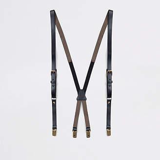 River Island Mens Black leather belt braces