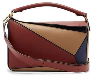 Loewe Puzzle Tri Colour Leather Bag - Womens - Burgundy Multi