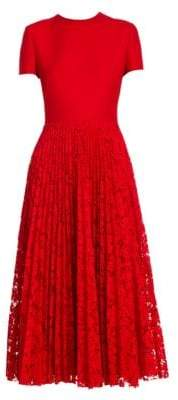 Valentino Short Sleeve Crepe & Lace Pleat Dress